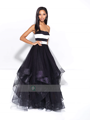 Sweet Strapless A-line Princess Ruffled Tulle Long Prom Dress