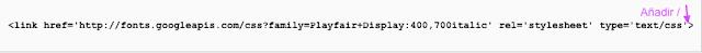 Codigo Google Fonts