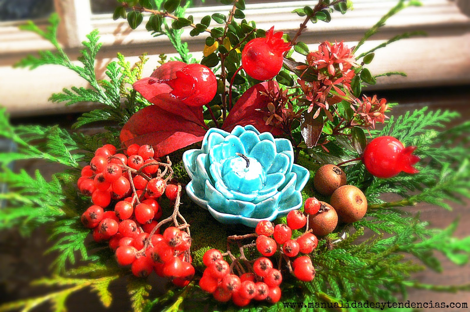 Manualidades y tendencias arreglo floral navide o - Como hacer un centro de mesa navideno ...
