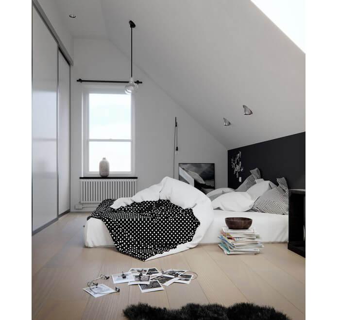 Esempio di dove applicare i punti luce in camera da letto