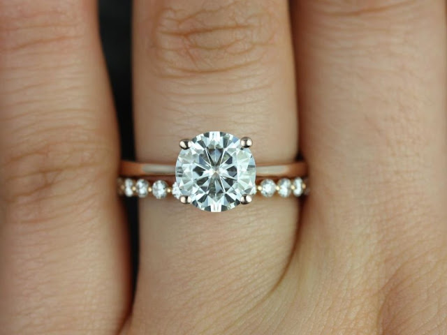 Platinum Engagement Ring With Rose Gold Wedding Band
