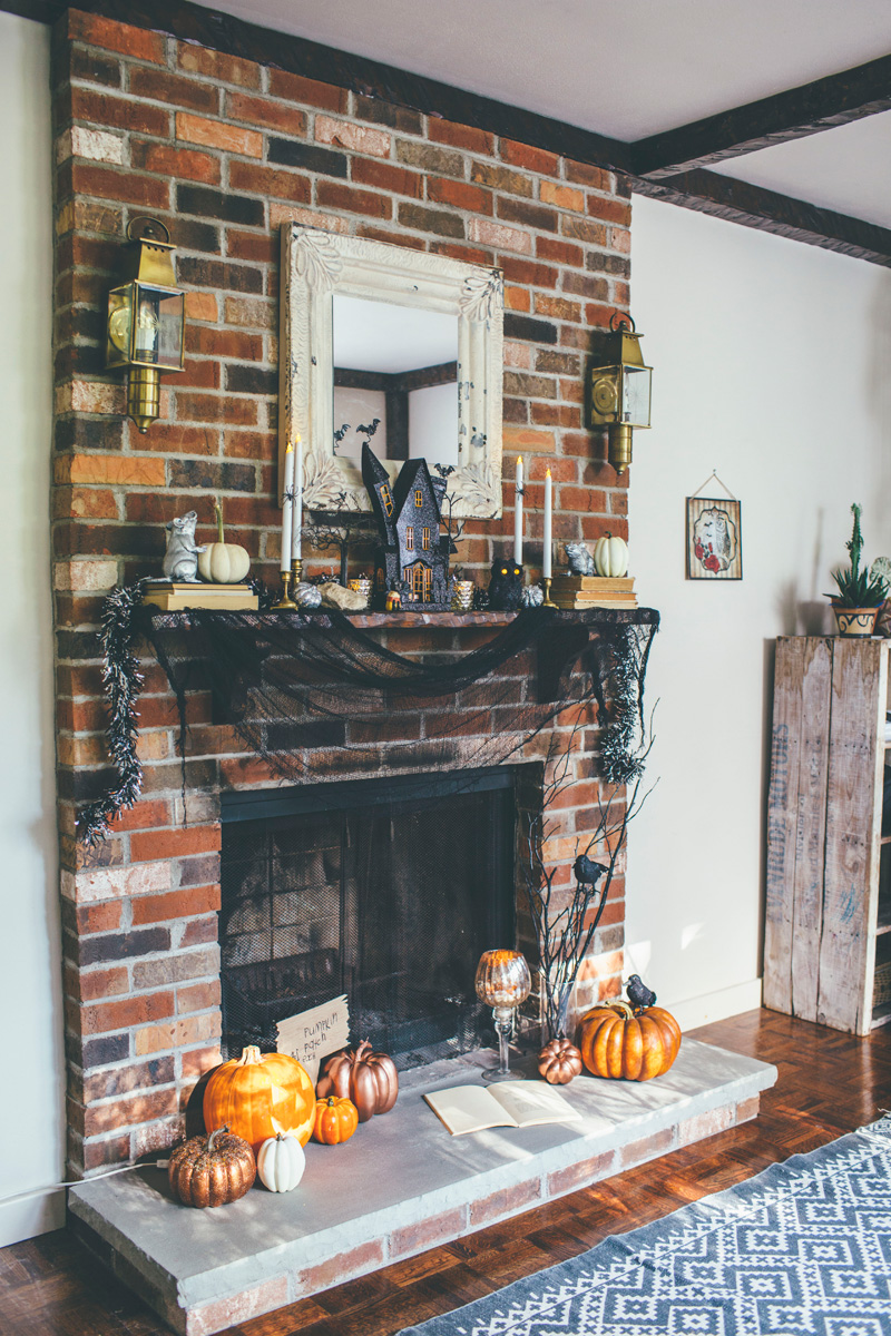 retro fireplace decorated for Halloween