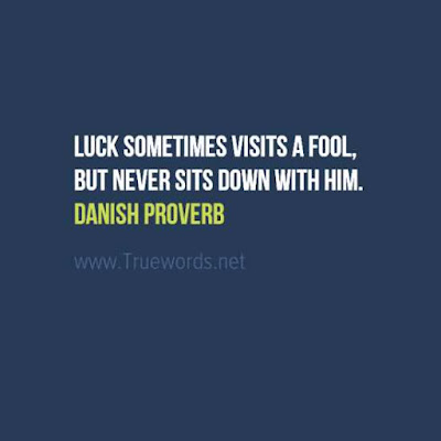 Luck sometimes visits a fool, but never sits down with him