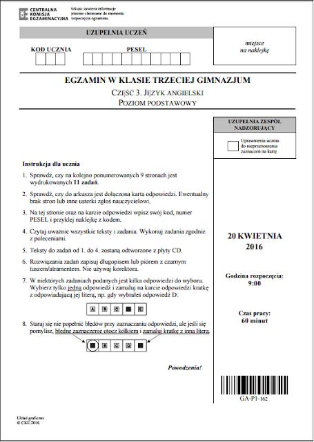 Egzamin gimnazjalny PRZECIEKI 2016