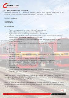 Lowongan Kerja PT Kereta Commuter Indonesia Agustus 2018