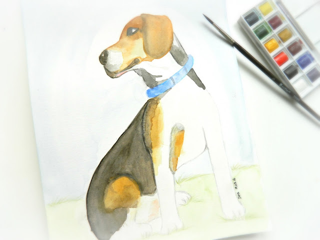 watercolor beagle painting