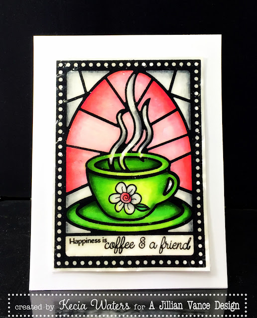 AJVD, Kecia Waters, stained glass, Copic markers, coffee