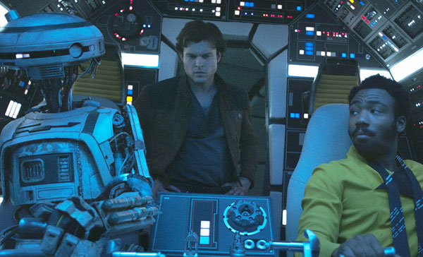 (L-R) L3-37 (voiced by Phoebe Waller-Bridge), Han Solo (Alden Ehrenreich) and Lando Calrissian (Donald Glover) in SOLO: A STAR WARS STORY (2018)
