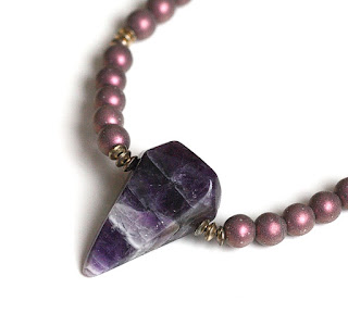 Beaded Amethyst Stone Pendant Necklace