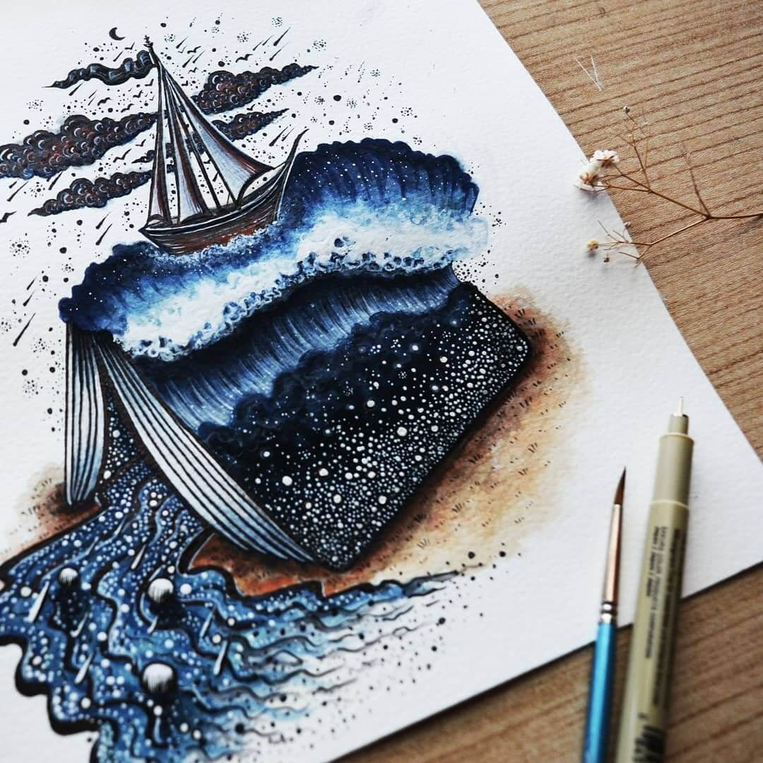 14-Sailing-Meni-Chatzipanagiotou-Fantasy-and-Surrealism-in-Ink-Illustrations-www-designstack-co
