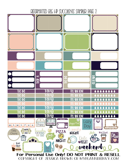 Free Printable Reformatted Succulents Sampler Page 2 for the Original Stay Golden Big Happy Planner from myplannerenvy.com