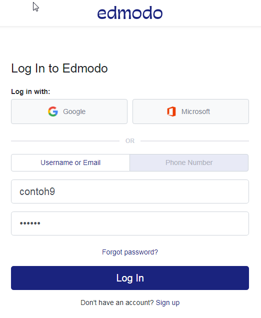 Edmodo login form