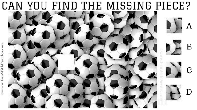 It is the Jigsaw Puzzle containing picture of footballs in which one has to find the missing Jigsaw piece