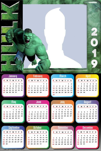 Free Printable Hulk 2019 Calendar.