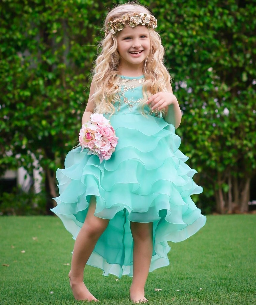 a94be95d88b Girls Mint Tiered Ruffle Gold Sequin Embroidered Dressy Holiday Dress  This  beautiful wear comes with cascading fluffy ruffles that are attractive and  easy ...