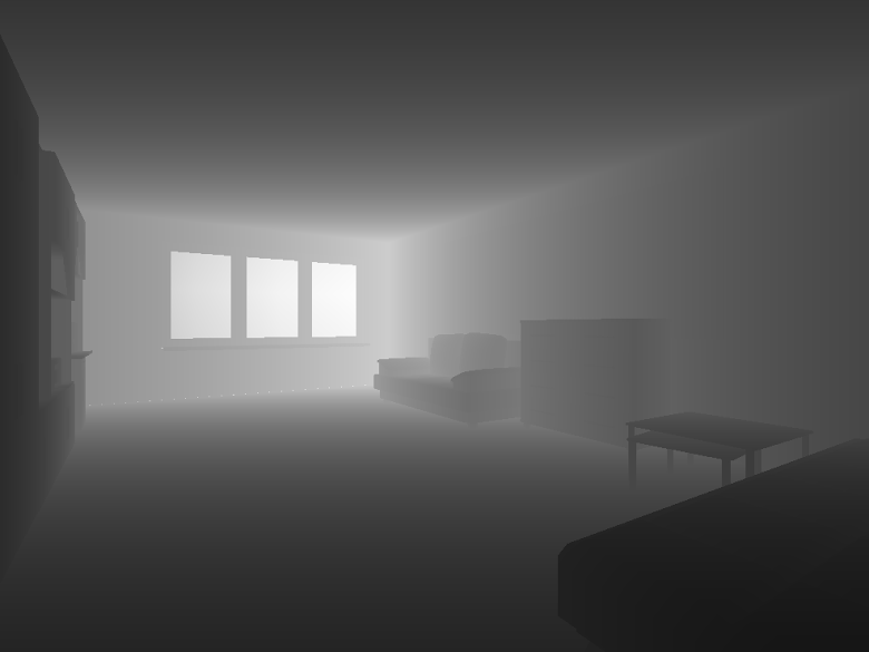 房間的深度資訊,越深色表示離攝影機越近