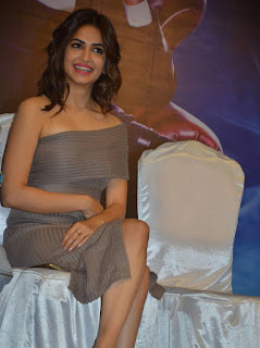 Kriti Kharbanda in Small Deep neck Shoulder less dress at Bruce Lee Movie Press Meet