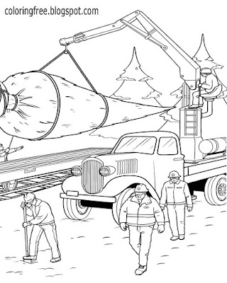Icy winter woodlands Christmas tree cutting winter snow drawing lumber truck coloring pages to print