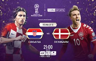 مشاهده مباراه الدنمارك وكرواتيا بث مباشر اليوم 1-7-2018 رابط مباشر يوتيوب بدون تقطيع في كأس العالم