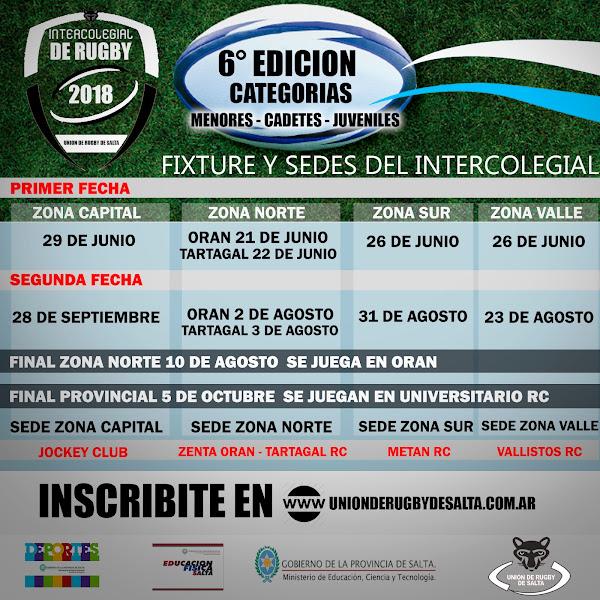 Fixture y sedes del Torneo Intercolegial de Rugby 2018 de Salta