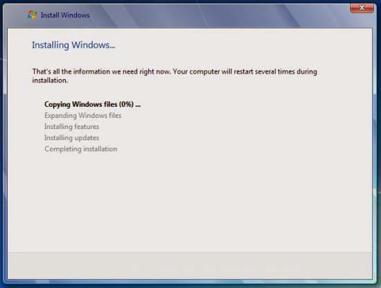 Instalare Windows 7 - inceperea instalarii fisierelor sistemului de operare