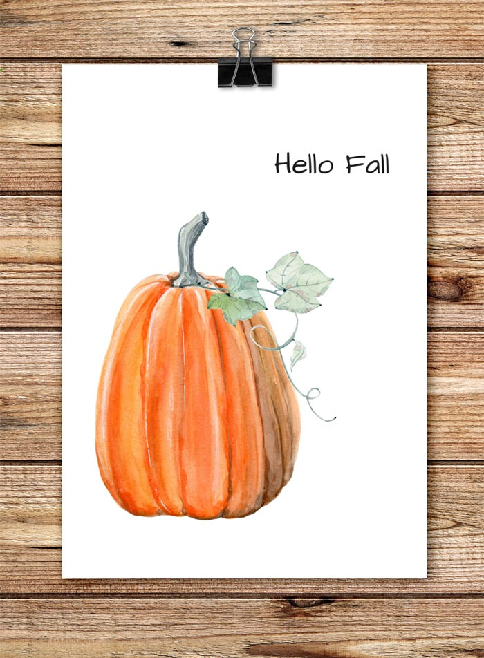 Hello, Fall Pumpkin Printable