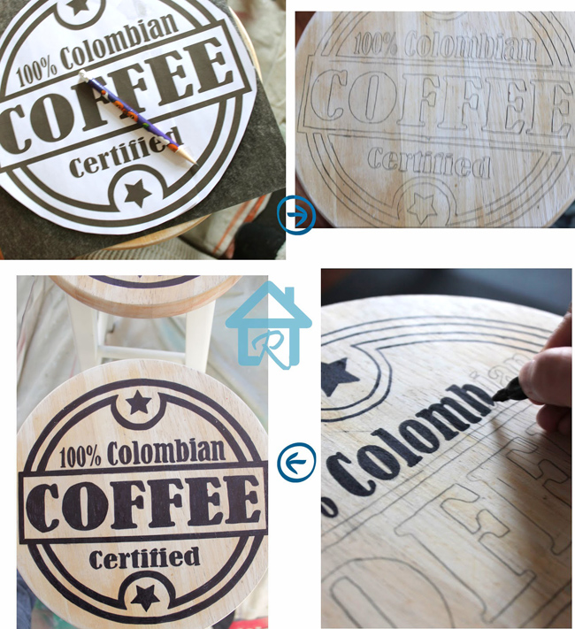 Painted coffee graphics on stool seat