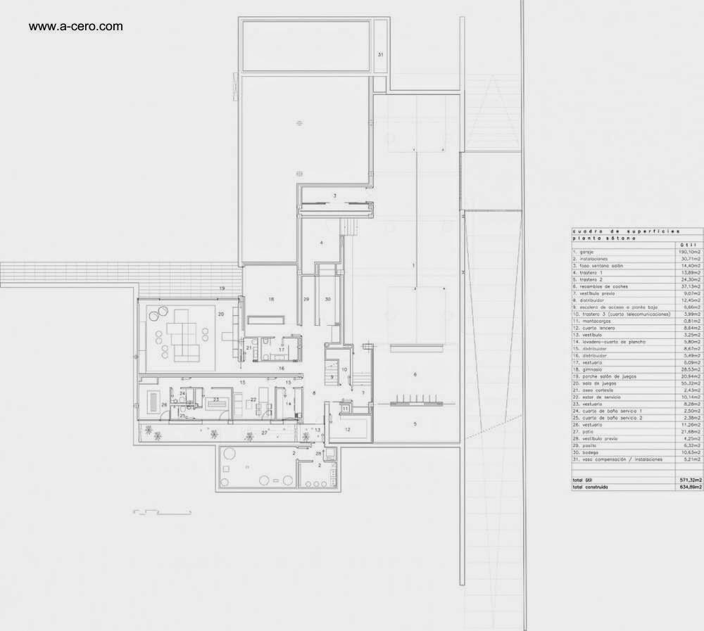 Plano arquitectónico de Concrete House I