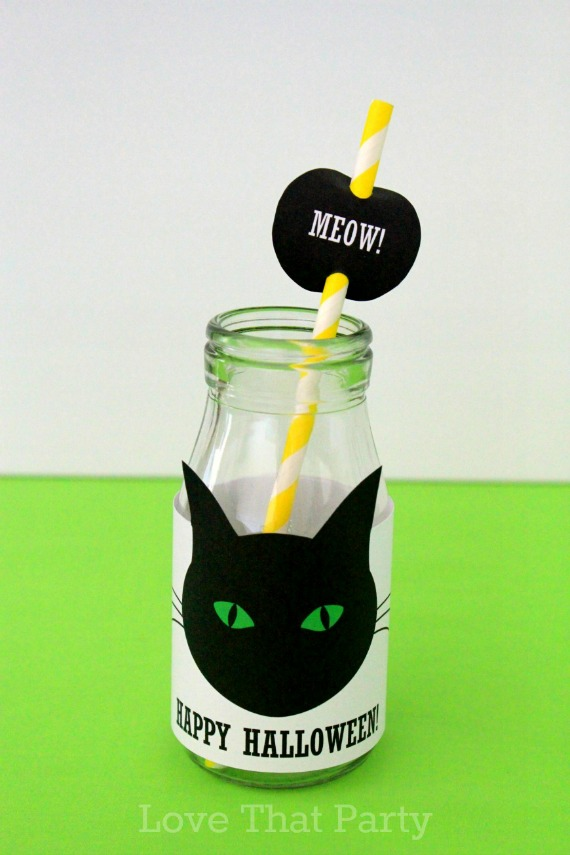 image of milk bottle with party label and paper straw with black cat