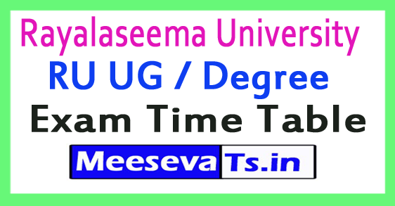 Rayalaseema University RU UG / Degree Exam Time Table 2017