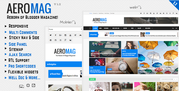 Free Download AeroMag V1.1 - News & Magazine Responsive Blogger Template