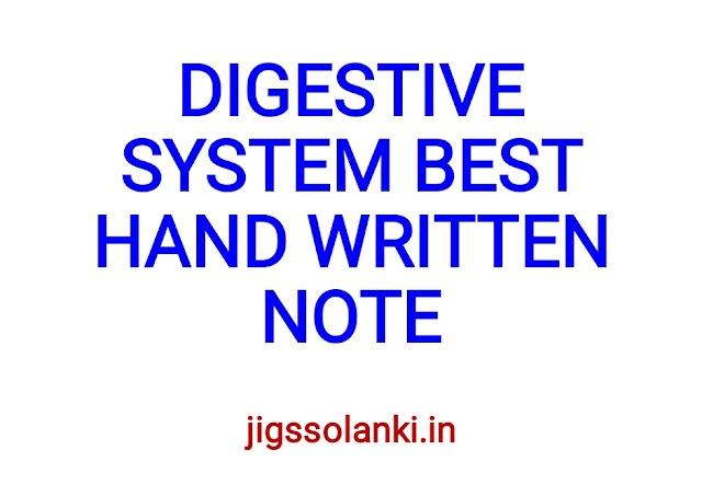 DIGESTIVE SYSTEM BEST HAND WRITTEN NOTE