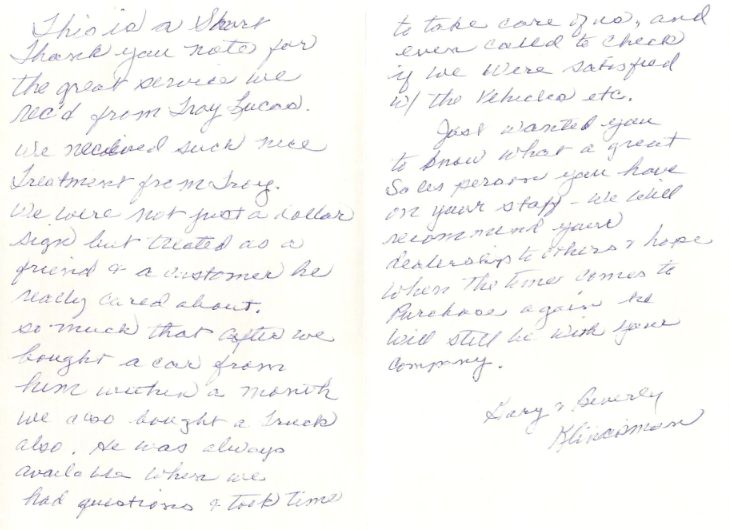 Sheboygan County Budget Auto >> Van Horn Auto Group Blog: A Kind Thank You Note From a Customer