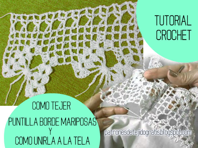 Cómo tejer puntilla y cómo unirla a la tela / Tutorial Crochet ...