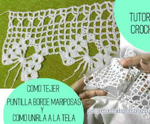 Cómo tejer puntilla y cómo unirla a la tela / Tutorial Crochet