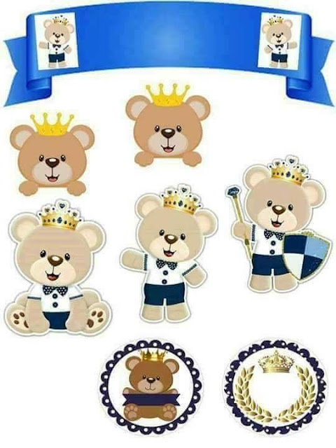 Baby Bear Prince in Blue: Free Printable Cake Toppers.