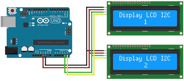 Circuito Arduino Uno e display LCD I2C