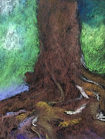 Steps in creating the soft pastel painting of a tree trunk by Indian artist Manju Panchal