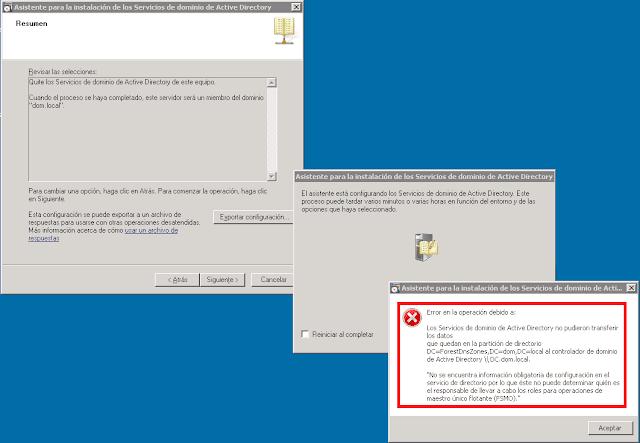 Error en la operación debido a:  Los Servicios de Active Directory no pudieron transferir los datos que quedan en la   partición de directorio DC=ForestDNSZones