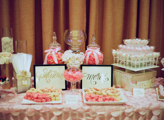 Make it Pop Sweets: Pink Parisian Wedding Dessert Table