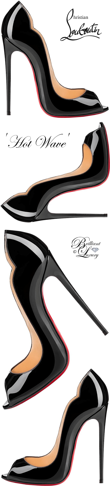 Brilliant Luxury ♦ Christian Louboutin Hot Wave Peep-Toe Red Sole Pump #black