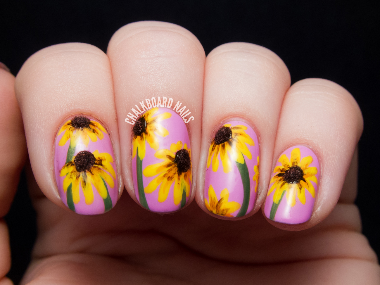 Black Eyed Susan Nail Art by @chalkboardnails