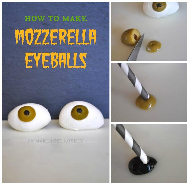 How to make mozzerella eyeballs for Halloween. Fun and creepy!