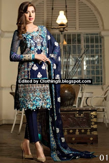 Nomi Ansari Embroidered Chiffon Collection 2016-17