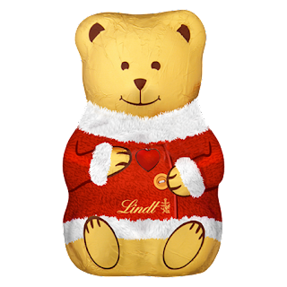 A medium brown chocolate teddy bear with engraved nose, mouth,,eyes and ears covered in a bright gold foil with a bright red coa covering most of it with Lindt in black bursive gold font on the bottom of it on a white background.