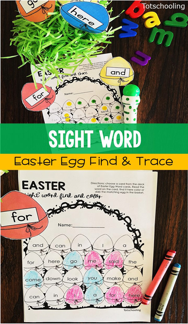 FREE Easter look and find coloring activity with sight words. Choose an egg with a sight word, find it and then color or trace it. Great Easter literacy activity for kindergarten!