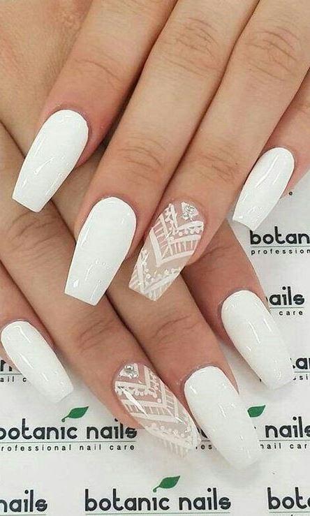 all white nail art design