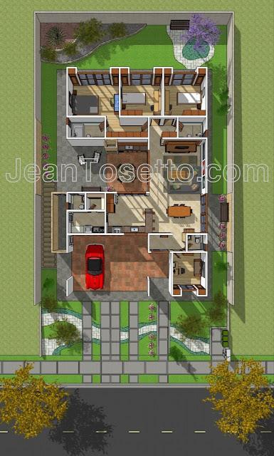 Implantação geral do lote Y-17 com 510 m² e planta baixa da residência com 209,18 m². Direitos autorais reservados para Jean Tosetto.