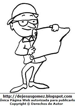 Dibujo de un hombre adulto con lentes para colorear, pintar e imprimir. Dibujo de hombre hecho por Jesus Gómez