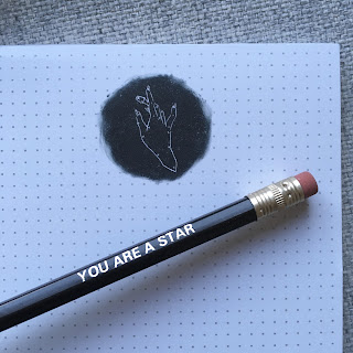 the thimble notepad and you are a star pencil
